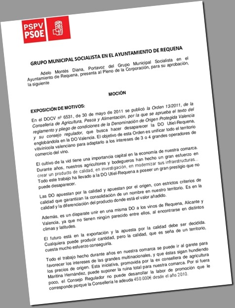 En Defensa de la DO Utiel-Requena_Moción PSOE Ayto.Requena_feb 2013