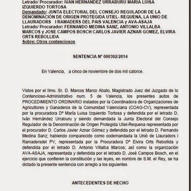 Sentencia sobre las elecciones de 2010 al CRDO Utiel-Requena_Nov.2014