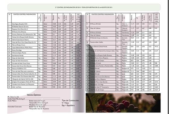 2º Control de Maduración de uvas 25 de Agosto de 2015
